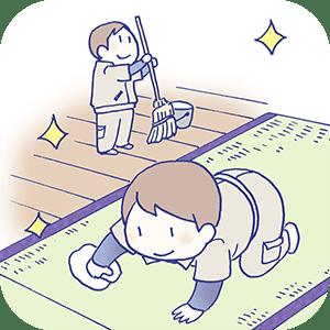 畳下の掃除仕上げの畳ふき